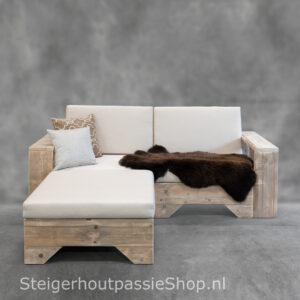 Steigerhouten Loungebank Flexo 2 incl. Hocker