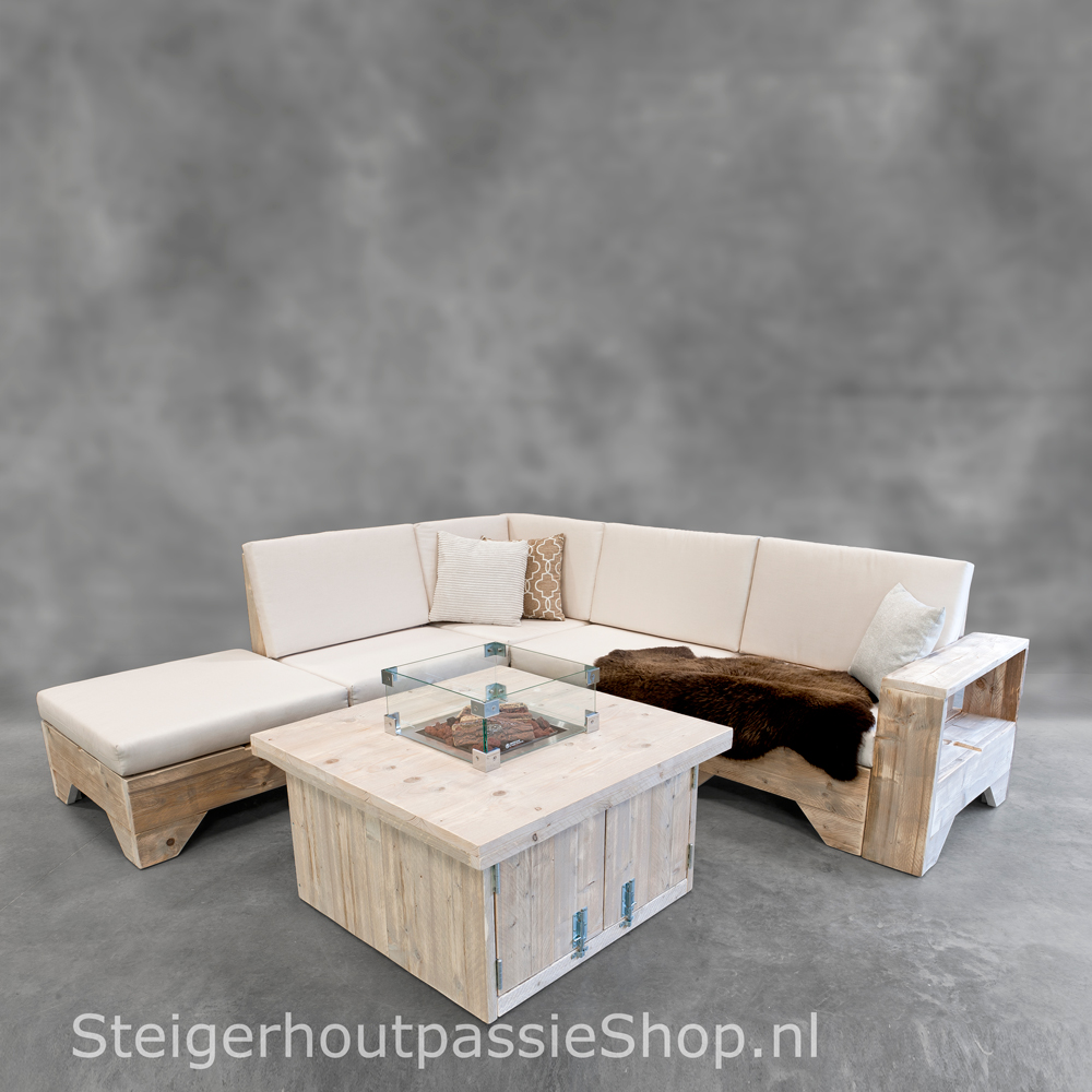 Hoekbank Incl Hocker.Steigerhouten Hoekbank Flexo 3 Incl Hocker