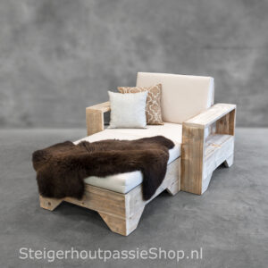 Steigerhouten Loungebank Flexo 1 incl. Hocker
